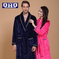 Autumn And Winter Coral Fleece Bathrobe Lovers Robe Thickening Flannel Sleepwear Male Women's Pajama Sets