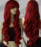 "32"" Long Big Spiral Curl Dark Red Cosplay Wig+wigs hairnet"