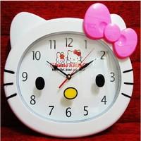 Lovely Creative Cartoon KT Cat Head Type Clocks Wall Hanging Clock For Kid's Room Free Shipping