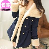 2013 women's overcoat double breasted preppy style medium-long woolen outerwear n2