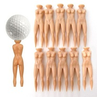 hot sale -10 x Novelty Joke Nude Lady Goft Tee Divot Plastic Practice Training Golfer Tees[030281]