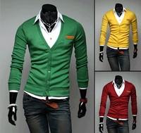 2013 free shipping Popular fashion 7 pocket cardigan veneer thin cardigan yarn shirt men's sweater