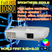 HD 1080P LED Projector 3000 Lumens SUPPORT RED&BLUE 3D Projector HOME PROECTOR X2000vx
