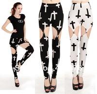 Free Shipping Blackmilk Big Cross Print Garter Leggings Cheap Jeggings For Women Wholesale and Retail