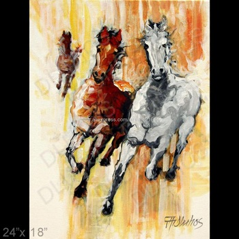 Animal Equine Horse Run Wild Mustang Modern Art Painting Living Room Background High Quality On Canvas