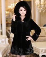 Ladies Jacket Costume Discount Fur Coat Fox Fur Trim Winter Coats Genuine Mink Real Fur Coat Women