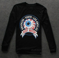 2013 new fashion free shipping Eye print casual Hip Hop style men's clothes autumn winter long-sleeved t-shirt o-neck