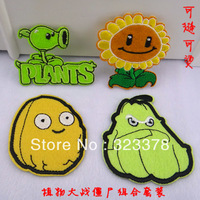 Plants vs . zoombies popular baby cartoon adhesive fabric clothes patch stickers Iron-on patches applique free shipping