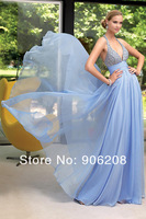 new Blue beaded halter gown with cumberbun waist and long chiffon skirt. Great gown for prom, special occasion