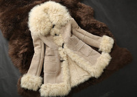 Genuine wool and Leather Coat wool Jacket Warm Winter Fashion Women Fur Outerwear  TP9029