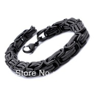 Black tone byzantine chain Stainless Steel Bracelet Charm Link Bangle 8.5mm,9'' Good Quality