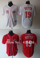 Free shipping Cincinnati Reds #19 Joey Votto Authentic Embroidery and stitched onfield Cool Base Baseball Jersey,Cheap Wholesale