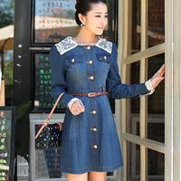 2013 autumn women's long-sleeve plus size slim denim one-piece dress with belt
