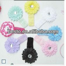 Free shipping Facny daisy large rhinestone center silk flower headband(China (Mainland))