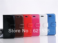 Free Shipping 1pcs Fashion leather section  Flip Leather Case Cover  for iphone5S with Stand+6 Different Colors
