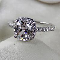 Princess Cut simulation diamond Ring!3 Carat Classic Halo Style Cushion Shape , SONA simulation diamond ,engagement & wedding ri