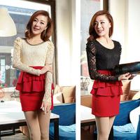 New arrival 2013 autumn long-sleeve dress slim sweet lace shirt basic colorant match dress ruffle