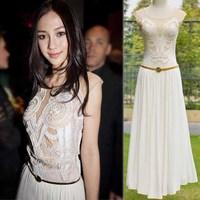 2013 spring fashion ruslana korshunova cutout crochet elegant slim one-piece dress with belt 3060