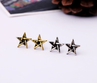 Fashion accessories vintage women's five-pointed star stud earring