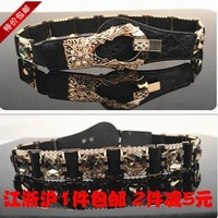 Women's belt cummerbund rhinestone flower luxury wide black elastic belt waist belt cummerbund all-match