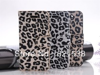 Free Shipping 1pcs  leopard print  Flip Leather Case Cover  for iphone5S with Stand+3 Different Colors
