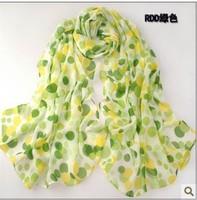 Velvet chiffon dot print scarf silk scarf female cape