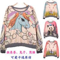 Medium-long cartoon HARAJUKU unicorn rabbit plus velvet thickening fleece pullover sweatshirt