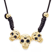 Accessories skull leather short design necklace female chain crystal accessories vintage fashion