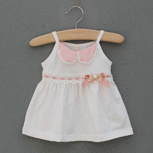 Baby girls slip dress,babys summer beach dress,cotton,dots,bow,5 pcs / lot,wholesale babys clothing,0298(China (Mainland))