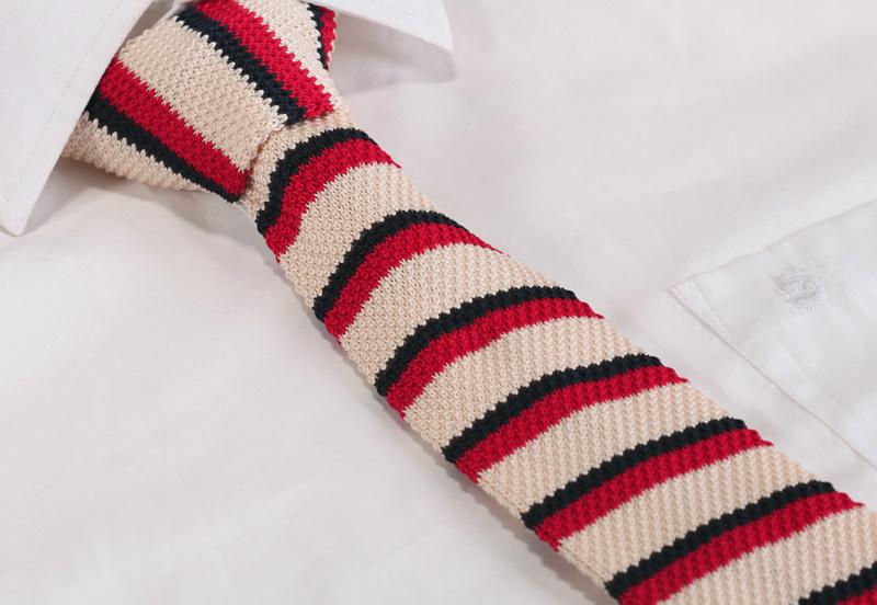 "TSK004E Yellow Red Stripe 2.4"" Knit Knitted Slim Flat Fancy Tuxedo Narrow Men's Neck tie Necktie Party Wedding(China (Mainland))"