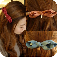 Asymmetrical hair accessory round gentlewomen bow hair accessory hair accessory clip hairpin side-knotted clip