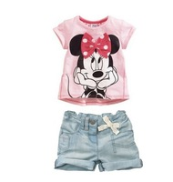2013 new arrived,children clothes,5set/1lot Girls fashion set for summe short sleeve t-shirt+pants suits children clothing