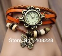 Genuine Leather Weave Wrap Retro Women Girl buttery fly shape  Wrist Watch Bracelet