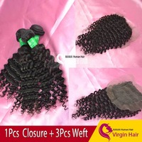 "Cheap 1pcs lace closure 4*3.5"" with 3pcs Hair Peruvian Virgin bundle hair 6A Grade deep curly wave Human Hair  Free Shipping"