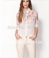free shopping WOMEN FLOWER PRINT LAPEL CHIFFON Blouses & Shirts LONG SLEEVED SHIRT tops for lady