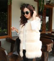 2013 autumn and winter new arrival faux fur vest fox fur thickening sweet women's medium-long vest