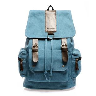 New College Wind backpack canvas shoulder bag backpacks schoolbag Korean men travel bag blue / black /brown/green color(China (Mainland))