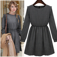 Free shipping 2013 latest new fashionable long-sleeved thick winter dress Korean women