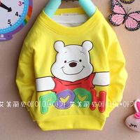 Free shipping Children's Apparel Boys and girls t-shirts Long-sleeved t-shirt letters 4pcs/lot 100% Cotton 1 - 3 years