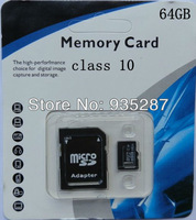 20pcs/lot SD Card 64GB class 10 SD Memory Card TF SD card 64G with retail packaging adapter free shipping