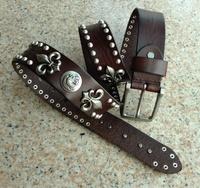 Genuine Leather Men Vintage Belts Cowhide Retro Rivet Long Belt For Man Punk Straps Designer Casual Jeans Dresses Cintos TBT0092