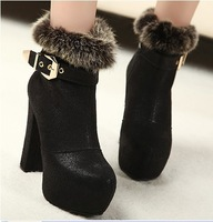 High-heeled martin boots female spring and autumn thick heel boots hasp platform rabbit fur velvet boots with a single female