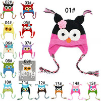 EMS/UPS/DHL Free Shipping! 100% hademade Kids Toddler Baby Girl's Boy's Cute OWL Animal Crochet Knit Woolly Cap Ear Hat
