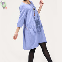 Autumn new arrival 2013 plus size loose embroidery fluid three quarter sleeve one-piece dress women's