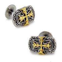 Double cross cufflinks gold plated handmade shirt sleeve male cuff