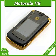 Hot sale original unlocked motorola razr v8 mobile phone Gold with 512 or 2GB internal memory