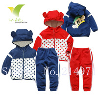 Freeshipping,Print Dot Long Sleeve Sport Coat+Pants Kids Casual Wear Tops Outerwear Children Clothing Set baby clothing5sets/lot