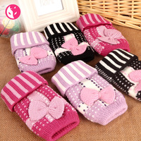 Free Shipping!!! Fox 2011 autumn and winter bow computer jacquard knitted gloves semi-finger 333 - 1254