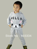 Free Ship novelty active solid unisex hooded full sleeve sport suit for chidren girls and boys two colors 100% cotton clothes