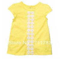 Free Shipping 2013 new carter's Baby girl yellow short sleeve top, carter's girl t-shirt,100%cotton,high quality 5pcs/lot